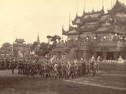 The Hampshire Regiment at Mandalay attending Divine Service on the morning of Christmas Day, 1885